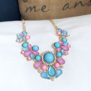 🎀 NEW • Pink & Blue Crystal Statement Necklace